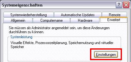Systemeigenschaften Windows XP