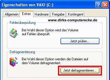 Defragmentierung von Festplatten unter Windows