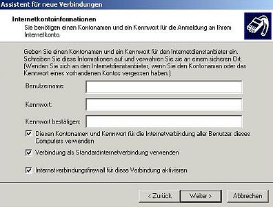 Assistent für DSL Verbindung Windows XP