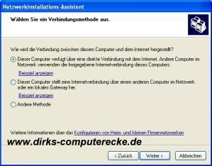 Internetverbindungsfreigabe einrichten