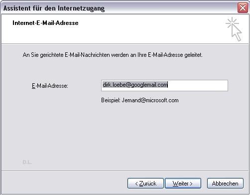Email Adresse eingeben in Outlook Express