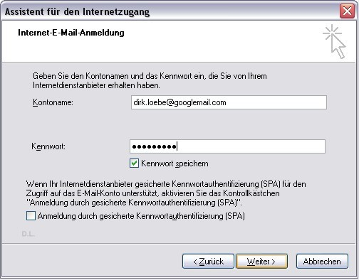 Benutzername und Passwort in Outlook Express