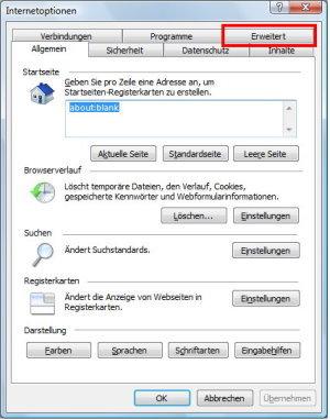 Registerkarte Erweitert im Internet Explorer