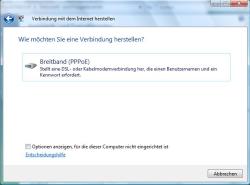 Internetverbindung über DSL einrichten unter Windows Vista