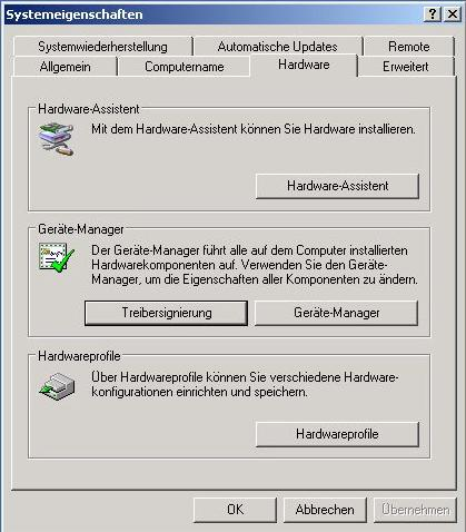 WindowsXP Treiber nicht signiert