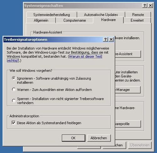 WindowsXP Treiber signiert