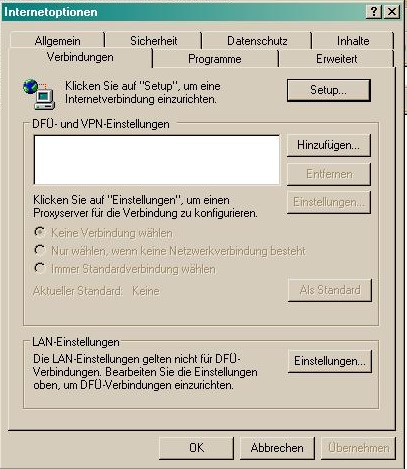 Internet Explorer Verbindung