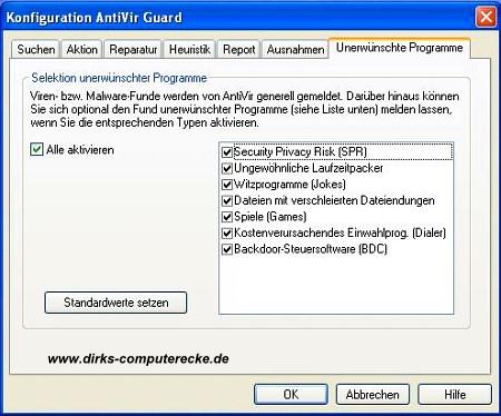 AntiVir Konfiguration und Einstellung
