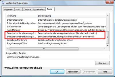 Windows Vista Benutzerkontensteuerung deaktivieren (abschalten)