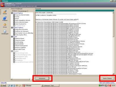 CCleaner System analysieren
