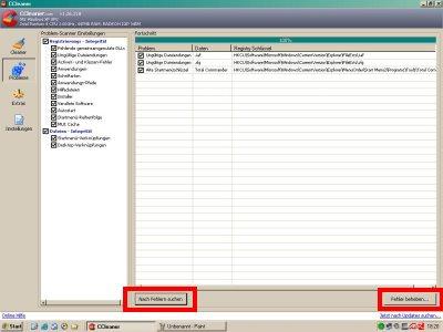 CCLeaner Registry Fehler finden