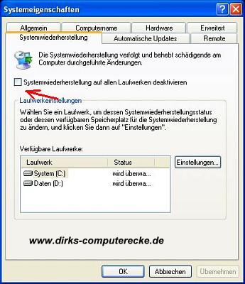 Windows XP Systemwiederherstellung deaktivieren