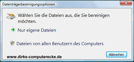 Datenträgerbereinigung unter Windows Vista