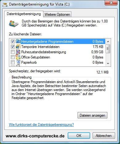 Datenträgerbereinigung für Vista