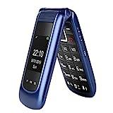 GSM Seniorenhandy Klapphandy ohne Vertrag,Großtasten Mobiltelefon Einfach und Tasten...