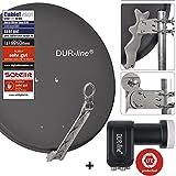 DUR-line 4 Teilnehmer Set - Qualitäts-Alu-Satelliten-Komplettanlage - Select 75cm/80cm Spiegel/Schüssel...