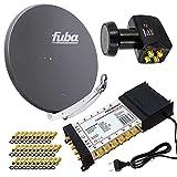 PremiumX Satelliten-Komplettanlage Fuba DAA 850 A Satellitenschüssel Alu Anthrazit 5/12 Multiswitch...