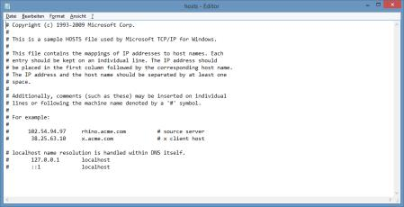 Hosts-Datei bei Windows