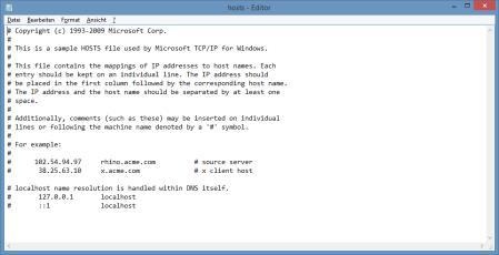 Hosts-Datei bei Windows