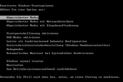 start abgesicherter modus Windows im abgesicherten Modus starten