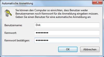Autologin Passwort eingeben