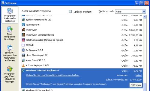 Anleitung: Internet Explorer 8 deinstallieren bzw. entfernen