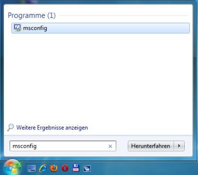 msconfig unter Windows 7 starten