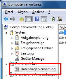 Computerverwaltung von Windows 7