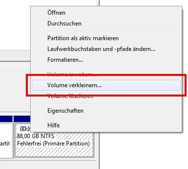 Partition vergrößern oder verkleinern unter Windows 7