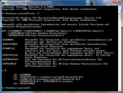 Systemdateien überprüfen mit sfc unter Windows 7