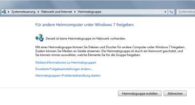 Windows 7: Heimnetzgruppe einrichten