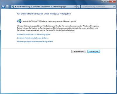 Windows 7: Heimnetzgruppe mit 2. PC beitreten