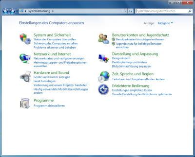 Windows 7 Systemsteuerung