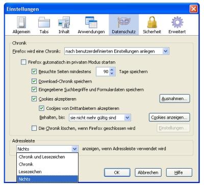 Firefox - URL-Vorschläge in der Adresszeile deaktivieren