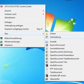 Windows 7: Desktop-Verknüpfung für Netzwerkverbindungen anlegen