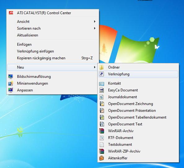 Desktop neue Verknüpfung