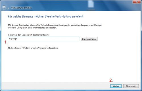 Desktop-Verknüpfung ncpa.cpl