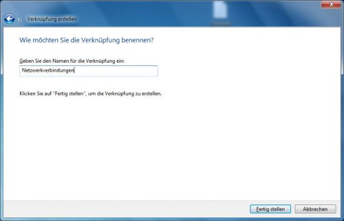 Netzwerkverbindungen Desktopverknüpfung