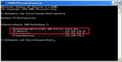 IP-Adresse unter Windows XP ermitteln
