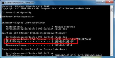 IP-Adresse unter Windows 7 ermitteln