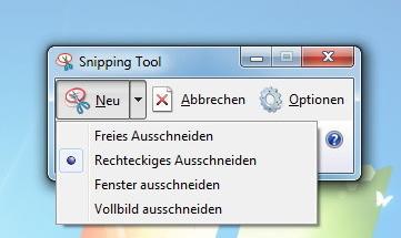 Snipping Tool per Tastenkombination bzw. Shortcut starten