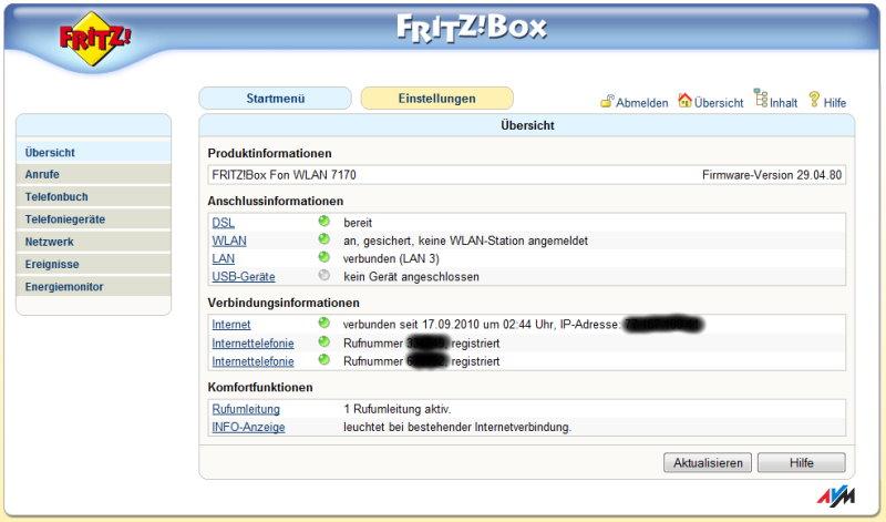 Fritz!Box Admin-Oberfläche