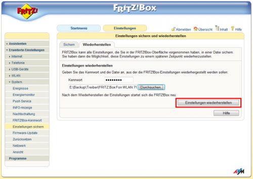 FRITZ!Box Einstellungen sichern und wiederherstellen