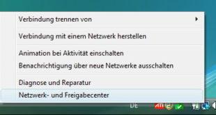 Netzwerk und Freigabe Center öffnen