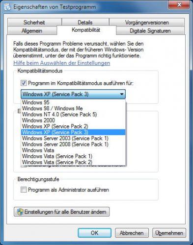 Betriebssystem für Kompatibilitätsmodus auswählen