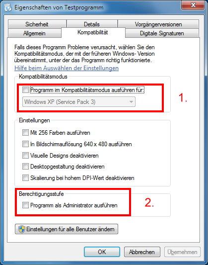 Windows 7 Kompatibilitätsmodus aktivieren