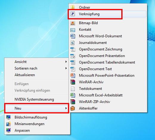 neue Verknüpfung anlegen unter Windows 7