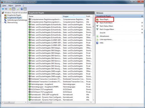 Windows 7 Firewall Ausgehende Regeln