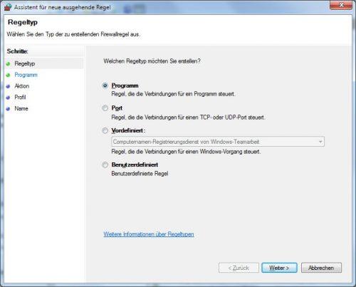 Firewall Assistent für neue ausgehende Regel
