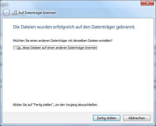 Brennen der ISO-Datei unter Windows 7 abgeschlossen